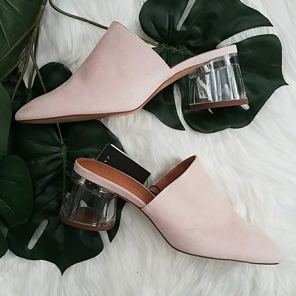 e32d3974b9e NWT Zara Clear Acrylic Heels blush Pink 37 7US